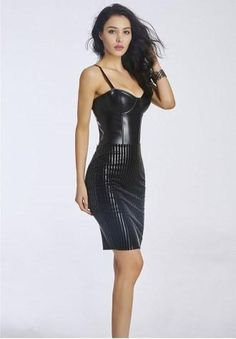 LEATHER CORSET DRESS - This sexy, stretch black Leather Corset Dress features adjustable spaghetti straps, underwire cups, an elastic waist and complete zipper backside. Black Corset Dress, Black Leather Corset, Corset Outfit, Faux Leather Dress, Black Bodycon Dress, Plus Size Corset, Black Wedding Dresses, Dress Wedding, Strip