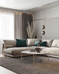 Home Design Living Room, Interior Design Living Room, Home And Living, Modern Living Room Decor, Modern Contemporary Living Room, Beige Living Rooms, Living Room Color Schemes, Apartment Interior, Behance