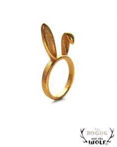Gold Bunny Ears Ring, Bunny ring, playful whimsical animal jewelry, animal lover, gift for your Valentine, for the whimsical girlfrien