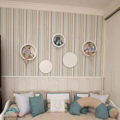 Papel de Paredes para decoração de quarto de bebê e infantil Bobinex Bambinos 3319, REF3319, listras, listrado, azul, verde, bege, dourado | SP, BH, MG, RJ, DF