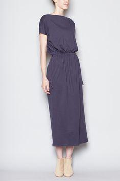 Black Crane Long Dress (Navy)