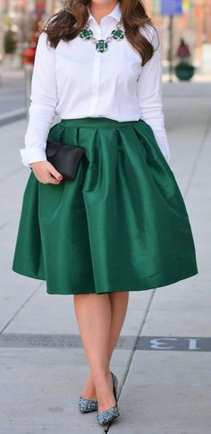 green a-line midi skirt  http://rstyle.me/n/fm9sfpdpe