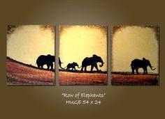 CUSTOM - Original Painting Large Abstract Modern Contemporary Heavy Textured fine art by Shanna - Row of Elephants from shannacreations on Etsy. Elephant Canvas, Elephant Paintings, Elephant Stuff, Elephant Family, Original Art, Original Paintings, Your Paintings, Indian Paintings, Abstract Paintings