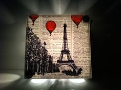 Hot Air Balloons Over Paris Repurposed Vintage Dictionary Light Box Night Lights. $38.00, via Etsy.