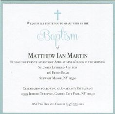 This elegant invitation is a special way to invite family and friends to your sons baptism. Also a beautiful invitation for a christening or first