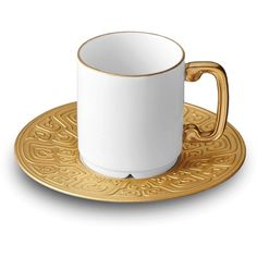 L'Objet Han Espresso Cup + Saucer ($120) ❤ liked on Polyvore featuring home, kitchen & dining and gold