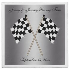 Personalized Checkered Flag Auto Racing Wedding Napkins This couples wedding reception paper napkin features a checkered flag with a silver grey background. Great for an auto or motorcycle race fan, coach or driver. Matching products available in my shop.