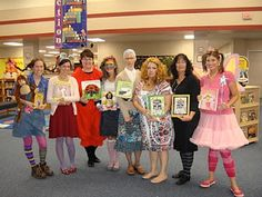 love this idea.  i think the teachers at Peine should do this next year for read across america week!  Book character day, teacher dress up ideas