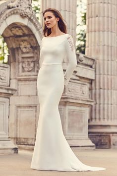 Long Straight Wedding Dresses with Sleeves