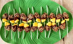 Frozen chocolate dipped pineapple pops: http://www.stylemepretty.com/living/2015/05/21/26-foods-even-more-fun-on-a-stick/