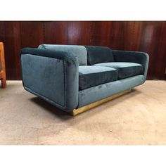 Blue Velvet Mid Century Sofa With Brass Floating Base. Incredible! Image Of  Mid