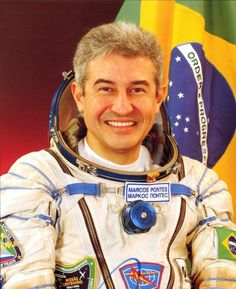 Brazilian astronaut Marcos Pontes. - Foi o primeiro austronauta brasileiro, o primeiro sul americano e o primeiro lusofono ( paises, regioes, cidades ou estados falantes da lingua portuguesa ) a ir ao espaco.
