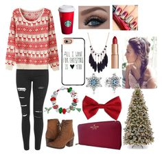 """12 Days Until Christmas::Day 1"" by potterhead1122 ❤ liked on Polyvore featuring Topshop, Madden Girl, Bling Jewelry, Casetify, Kate Spade, Torrid, Pandora, Charlotte Tilbury and Christmaswithpotterhead"