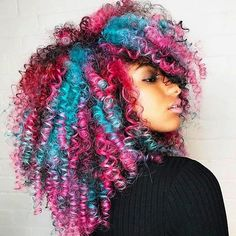 Rainbow explosion of curls. Brighten up your winter #haircolor #haircolour #hair #hairstyles #unicorn #curly #curlygirls #haircut #melanin #afro #afropunk #punk #rainbow #rainbowhair