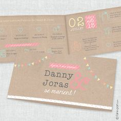 "Faire Part de Mariage ""Pretty Love Story"" Retro Chic, Vintage & Festif"