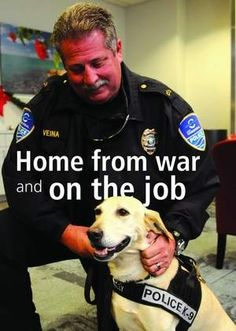 Lilly a 6 year old yellow Lab and handler Cpl. Mike Veina , patrol cruise terminals at Port Canaveral . Lilly was injured in a bomb blast in Afghanistan . An Ex-Military working dog ,she now works for Port Canaveral Police Department K9 Unit .  Photo:Tim Shortt