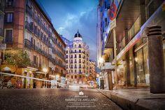 San Bernardo, Dusk, Madrid, Spain, Street View, Urban Landscape, Clouds, Street, Buildings