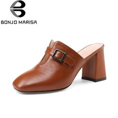c8091579b9d6 BONJOMARISA Cow Genuine Leather Plus Size 33-41 Summer Sandals Shoes Women  Square High Heels Office Black Woman Shoes. Yesterday s price  US  75.39  (67.07 ...