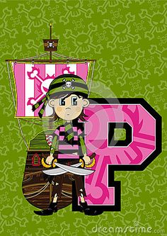 Cute Cartoon Bandana Pirate Sailor with Swords and Pirate Ship Learning Letter P.  An EPS file is also available