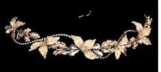 Sparkling Gold Plated Rhinestone Leaf and Bud Bridal Headband with Elastic Back - Affordable Elegance Bridal -