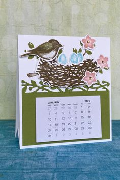 Every year I like to make mini desktop calendars to give as a gift that will last a year long. It's always hard to choose a design when there are so many good ones to choose from! But this year I settled on the Birds & Branches Bundle by Stampin' Up! Click on the photo to be directed to my YouTube video on how you can make this calendar, along with a bonus design. Or you can order supplies through my Stampin' Up! shop www.trishfisher.stampinup.net Desktop Calendars, Bird On Branch, Branches, Stampin Up, Birds, Mini, Shop, Youtube, How To Make