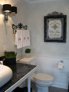 French Cottage Spa Bathroom, put in a claw foot tub, and convert an antique into the sink vanity and it'll be much better!