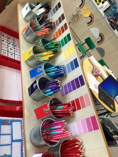 Creative Area Ideas for Early Years is part of Reggio classroom - Excellent ways to provide an accessible creation station for children and lots of ways to vary art inside the classroom with a variety of materials Reggio Classroom, Classroom Design, Classroom Organization, Classroom Decor, Classroom Displays, Early Education, Early Childhood Education, Education College, Science Education