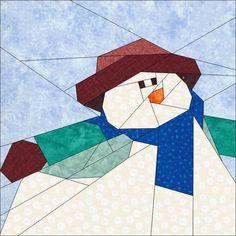 """Snowman 10"""" (25cm) Festive Season Block quiltartdesigns.blogspot.com"""