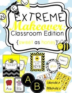 Extreme Makeover: Classroom Edition Sweet as Honey Printable theme kit for yellow and black bee themed classroom