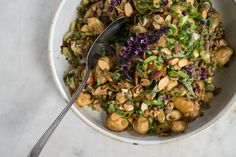 Smash-and-Toss Roasted Potato Salad - A flavor-forward potato salad you can make a meal of - French lentils, sun-dried tomatoes, ginger,…