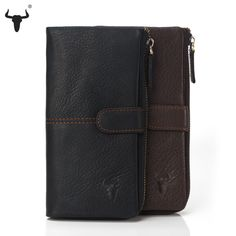 FAMOUSFAMILY High Quality Genuine Leather Organizer Wallet Men Women Cowhide Real Leather Zipper Coin Bag Card Long Travel Purse //Price: $49.03 & FREE Shipping //     #Jewelry
