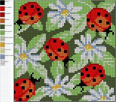 Cross-stitch Ladybugs  Daisies, part 2...    Gallery.ru / Фото #4 - Подушки схемы - olgavovk