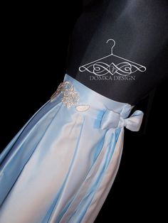 SKY BLUE LONG SKIRT WITH GOLD FLOWER BELT