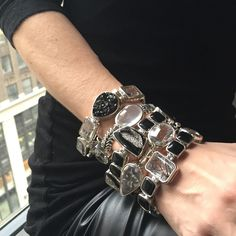 Stacks on stacks in edgy black and quartz gemstone bracelets!