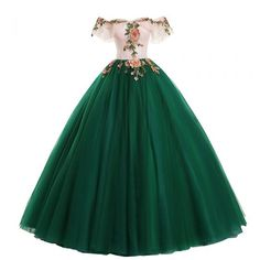 formal dresses long Vintage / Retro Dark Green Prom Dresses 2019 Ball Gown Appliques Lace Off-The-Shoulder Short Sleeve Backless Floor-Length / Long Formal Dresses Quince Dresses, Gala Dresses, Quinceanera Dresses, Evening Dresses, Dark Green Prom Dresses, Green Dress, Green Lace, Pretty Dresses, Beautiful Dresses
