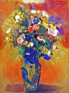 Odilon Redon - Large bouquet of wild flowers in a Persian vase [1910]