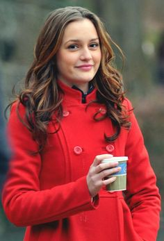 Leighton Meester love the red coat! And I also love her curls!