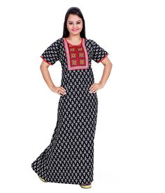 Buy Silky Maroon Printed Cotton Nighty for Women Online India 3bb992502