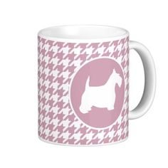 Wedgewoof Lilac and White Houndstooth Scottie Classic White Coffee Mug