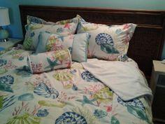 Beachy Bedding. Seashell Duvet Cover Set Tropical Bedding, Beach Bedding, Tropical Home Decor, Us Beaches, Beach Themes, Duvet Cover Sets, Sea Shells, Oasis, Bed Pillows