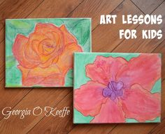 Art lessons for kids: Georgia O'Keeffe flowers