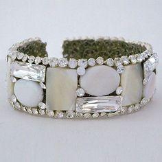 Erin Cole Couture Wedding Bracelets | Mother of Pearl Bridal Cuff | Destination, Eveningwear
