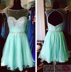 A Line Sweetheart Tulle Beadings Short Homecoming Dress - HomeComing Dresses - Homecoming   Cocktail   Party - CDdress.co