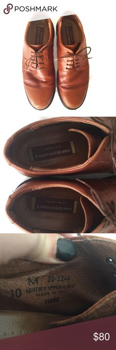 Johnston & Murphy caramel lace up dress shoes These men's dress shoes are classy, leather, and recently conditioned. Impeccable condition, Vibram comfort soles. Johnston & Murphy Shoes
