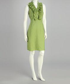 Love this Celery Ruffle Dress - Women by Joy Mark on #zulily! #zulilyfinds