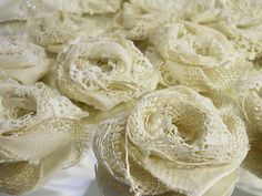 how to make burlap wedding asscerorys | 10 handmade burlap lace flowers for weddings bouquet making wedding ...