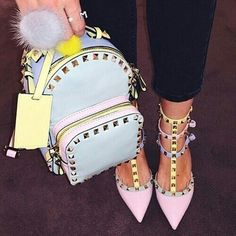 valentino pastel backpack and shoes