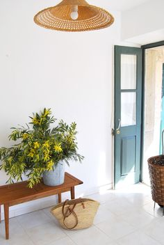 simple modern entryway with woven pendant lighting fixture, green door and wood bench with metal bucket filled with green and yellow grasses. / sfgirlbybay