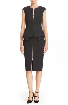 TED BAKER 'Jumana' Textured Peplum Zip Front Sheath Dress. #tedbaker #cloth #