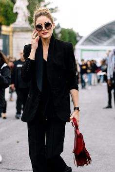 OPs All Black, Round Sunglasses & Pop Of Red.
